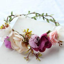 Wholesale Halo Tiara - New Rose Flower Halo Bridal Floral Crown Hair Band Wreath Mint Head Wreath Wedding Headpiece
