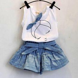Wholesale Chinese Lolita Shirt - 2017 Baby Girls Clothes White T-shirt and Blue Square Pants Skirt Suit Kids Summer Tutu Princess Dress Printed Bow Girl   Bird Pantskirt Set