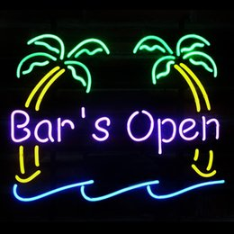 Wholesale Tiki Bar Open Signs - Fashion Handcraft The Tiki Bar is Open Real Glass Beer Bar Pub Display neon sign 19x15!!!Best Offer!