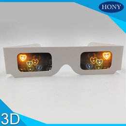 Wholesale glass fireworks - Wholesale- 100pcs Paper Cardboard 3D Heart firework glasses, cheap heart diffraction glasses