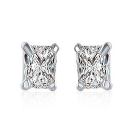 Top vente 925 plaqué argent bijoux étincelant véritable carré zircon goujons parti dames femmes mode boucles d'oreilles ? partir de fabricateur