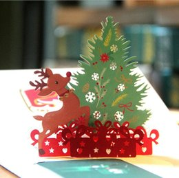Wholesale Christmas Tree Postcards - 3D Pop up Cards Merry Christmas Origami Paper Laser Cut Postcards Gift Greeting Cards Handmade Blank Colourful Christmas Tree