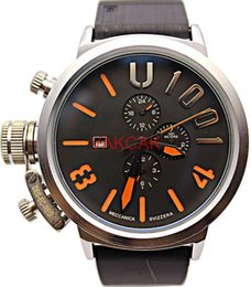 Wholesale Mechanical Watch Hand Wind - 2017 Luxury Brand Men's Sports Big Dial Rubber Classic Boat Round Chronograph Automatic Mechanical Self Wind Left Hook Hand U Watches