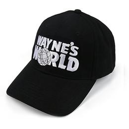 2019 vr 46 hat Al por mayor- Mundo de Wayne Sombrero negro Gorra de béisbol Traje Estilo de moda Cosplay Sombrero camionero bordado Unisex Gorra de malla Tamaño ajustable