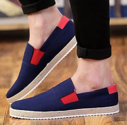 Wholesale Flax Medium - Free shipping hot sell fashion flax-cloth shoes men summer breathable lazy canvas shoes flat shoes yzs168