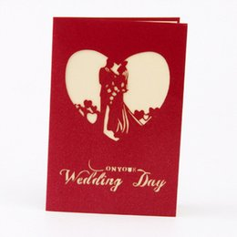 Wholesale Red Invitation Paper - Folded Wedding Invitations Cards Bride Day with Envelope Greeting 3D Hollow Red Color Printed Paper Love Shape Card Decoration Invitation