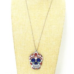 Wholesale thanksgiving skull glasses - Calavera Sugary-sweet whimsical skull pendant Celebrate Mexican Day of the Dead Halloween Acrylic Sugar Skull Necklace For Women