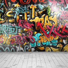 Wholesale Graffiti Photos - Digital Painted Graffiti Wall Backdrop Photography Children Kids Studio Backgrounds Wood Floor Vinyl Photo Shoot Backdrops