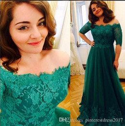 Wholesale Mid Bride Dresses - Mother's Dresses Emerald Green Evening Dress with Mid Sleeves Prom Dresses Evening Gowns Robe de Soiree 2017 mother of the bride dresses