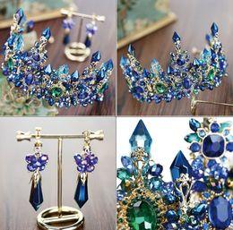 Wholesale Precious Bridal - 2017 wholesale new DG Baroque crown bridal jewelry European Baroque blue crystal column big crown headdress studio display jewelry whole Fre