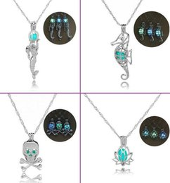 Wholesale Hollow Out Plate - 2017 New Hollow-out The Mermaid Luminous Necklace Mermaid Cages Locket Pendant Necklace DIY Pearl Pendant Necklace
