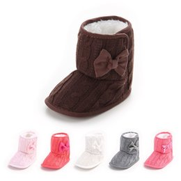Wholesale Infant Girls Snow Boots - Winter baby warm shoes Snow Boots Knitted Wool Thicken bow Infant Boots Toddler Boy Girl First Walker Shoes baby boot Shoes 0-12Mos B564