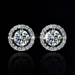Wholesale Gold Black Stud Earrings - Stud Earrings for women White Gold Plated CZ diamond Jewelry AAA zircon Round boucle Wedding