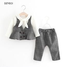 Wholesale Toddler Waistcoat Set - Autumn Winter Baby Boy Girl Plaid Set Clothes Korean Kid Waistcoat+T-Shirt+Trouser Pant 3PCS Suit Toddler Children School Uniform Outfits