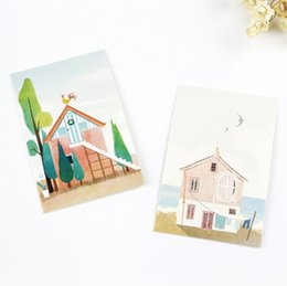 Wholesale Mini Postcards - Wholesale-28Pcs pack New Story of Little City Mini Card Greeting Card Postcard Birthday Letter Envelope Gift Card Set Message Card H2102