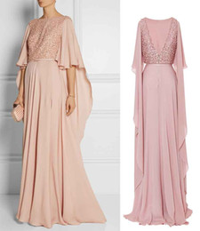 Wholesale Embroidered Green Evening Gown - blush embroidered cape sleeve slit evening gowns 2017 elie saab dresses for evening bateau neckline sweep train formal dresses