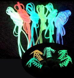 Wholesale Glow Dark Ems - Free EMS DHL 200pcs  100 pairs LED Glow Shoelaces Luminous Flashing Shoe Laces Disco Party Light Up Glow In Dark Nylon Strap