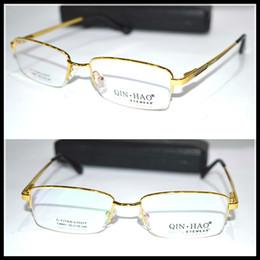 Wholesale Picture Frame Custom - Wholesale- Real picture Optical Custom made optical lenses Titanium alloy semi-rim GOLD frame Reading glasses +1 +1.5 +2+2.5 +3 +3.5 +4to+6