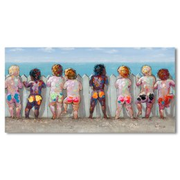 Wholesale Wall Decor Panels Beach - Framed Lovely Colorful BIG Canvas Boys at Beach,Pure Hand Painted Modern Wall Decor art oil painting Multi sizes Free Shipping Ab121