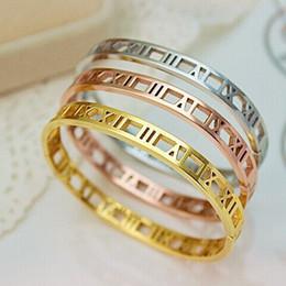 Braçadeira numeral romano on-line-Homens E Mulheres de Aço Inoxidável Rosa Cor de Ouro Casais Pulseira Carving Roman Numeral Amante Cuff Bracelet Bangle Jóias Casamento