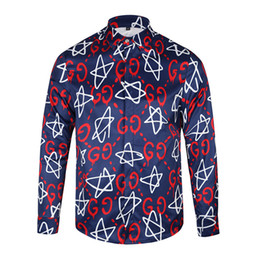 Wholesale Double Collar Shirt Men - New Fashion Swag Shirt Double G Letter Five-pointed Star Full-body Print Long-sleeve Casual Shirt Top Men Chemise Formas