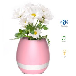 Wholesale Home Office Phones - Creatives Touch Wireless Bluetooth Flowerpot Mini Subwoofer Speaker with LED Multiple Colors Home Smart Plant Office Mp3 Music Player Toy