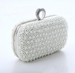 Wholesale Zipper Finger Ring - New fashion pearl bales ring evening banquet bags Diamonds Finger Rings Small Purse Day Clutches Handbags quality popular style wedding bag