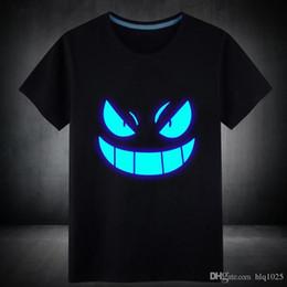 Wholesale Luminous Mens Shirts - Wholesale Mens Summer Short T-Shirt Blue Fluorescent Casual Luminous T-shirts Men Tshirt Male Fitness Tops free shipping