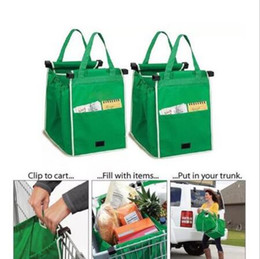 Wholesale Eco Folding Bag - New Grab Bag Reusable Ecofriendly Shopping Bags That Clips To Your Cart Foldable Shopping Bags Reusable Eco Shopping Tote CCA6277 50pcs