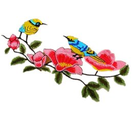 Wholesale Tree Color Sticker - Color bird tree branches embroidery cloth paste custom cheongsam decals embroidery sewing stickers DIY clothes patch bags hat accessories