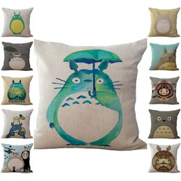 Wholesale Totoro Cushions - Chinchilla Totoro Pillow Case Cushion cover Linen Cotton Throw Pillowcases sofa Bed Pillow covers Drop shipping PW431
