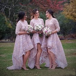 Wholesale Ivory Caps Skin - 2017 Skin Pink Full Lace Country Bridesmaids Dresses High Low Outfit With Half Sleeves Crew Neck Formal Wedding Guest Dress