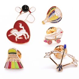 Wholesale United Arrows - Wholesale- Europe United States foreign trade jewelry wholesale sports style Hot air balloon bow and arrow badminton brooch