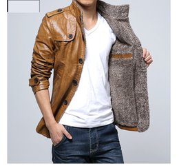 Wholesale Leather Jackets Lapels Men - 2017 Autumn Coats Jackets Men Clothing Leather new fashion trend casual men's jacket lapel solid cold winter leather jacket L-4XL