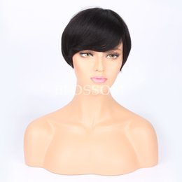 Wholesale Celebrities Human Full Lace Wigs - Human pixie cut Brazilian hair wigs short wigs for black women full lace wig short celebrity human best hair wigs