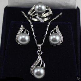 Wholesale South Sea Shell Sets - Hot sale! New South sea gray Shell Pearl necklace Pendant Earrings Ring Set