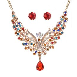 Wholesale Asian Bridals - Women's Bohemian Boho Crystal Teardrop Peacock Statement Necklace Earrings Set colorful Fashion Bridals Jewelry set wholesale