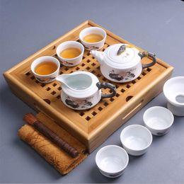 Wholesale Chinese Tea Set Bamboo - Kung Fu tea ceremony chinese bamboo tea tray beauty Snowflake glaze teapot teacup square Tea sets on sale