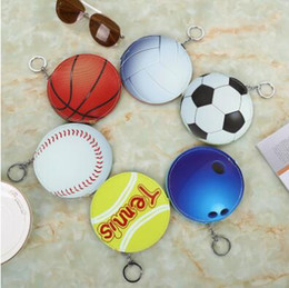 Wholesale Tennis Keychains Wholesale - Baseball Softball Basketball American Football Key Chain Baseball Softball Keyrings Tennis Coin Purse Pendant CCA7098 500pcs