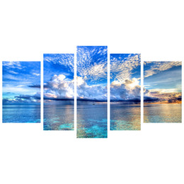 Wholesale Canvas Paintings For Living Room - Fashion Canvas Painting Art Blue Sky And Sea Pictures Print On Canvas Large 5 Piece Wall Pictures For Living Room FJ131