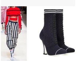 Wholesale Satin Beige Heels - 2017 women Striped-Heel socks boots Milan Fashion Week Stretch Knit Ankle Boots fabric Shoes women Designer Plus size 44