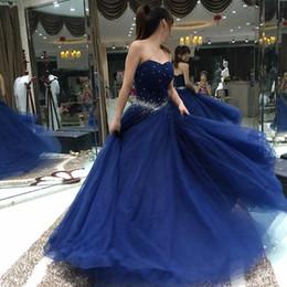 Wholesale Engagement Dress Long Sleeve - 2017 Dark Blue Beading Prom Dresses Cheap Ball Gown Tulle Long Engagement Evening Party Dress vestido de festa Fast Shipping