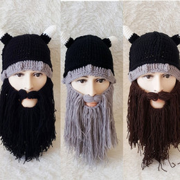 Wholesale Beanie Hat Horns - Autumn and winter Europe and the United States Halloween beard cap personality Viking horn hat hand weaving funny hat