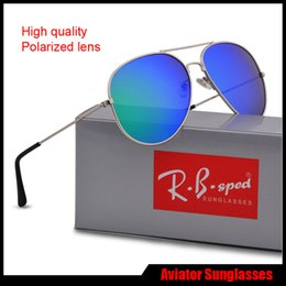 Wholesale Multi Lens - New Fashion Pilot Polarized Sunglasses for Men Women metal frame Mirror polaroid Lenses driver Sun Glasses with brown cases and box