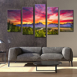 Wholesale Grand Digital - 5 Panels Sunset Mountain Painting Wall Art Grand Teton National Park Landscape Picture Print for Home Decor Stretched with Wooden Framed