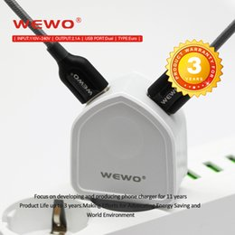 Wholesale Dual Usb Phone Charger - WEWO Phone Chargers CE ROHS Certified USB Wall Adapter Retail Package Dual Port 2Ports Smart Cell Phone Charger Super Quality