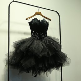 Wholesale Cheap Formal Dresses Feathers - Real Photo Feather Black Short Wedding Dresses 2017 Beaded Crystal Tulle Wedding Ball Gown Custom Made Formal Bridal Gowns Cheap USA UK