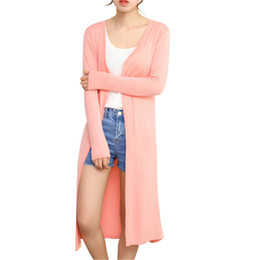 Wholesale Air Conditioned Computer - Wholesale-New 2016 Summer Autumn Women Casual Long Cardigan Modal Long Sleeve Air Conditioning Cardigan Sun Protection Shirt Sweater