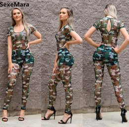 Wholesale Women Fashion Jumpsuits Wholesale - Wholesale- Bodycon Womens Rompers Jumpsuit 2017 Fashion Sleeveless Sexy Mesh Camouflage One Piece Mono Long Pant Women Jumpsuit