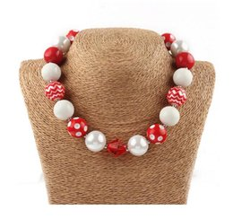 Wholesale chunky bubblegum necklaces - New arrival wholesale 8pcs lot Halloween chunky beads necklace,bubblegum necklace,white red ,red polka dot Children necklace